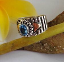 Blue Topaz Solid Silver, 925 & 22K Gold Balinese Design Ring 38901