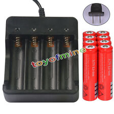8x 3.7V 18650 UF Li-ion 6800mAh Red Rechargeable Battery for LED Torch + Charger