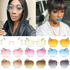 Metal Frame Eyewear Women Oversized Round Rimless Sunglasses Fashion Optics U87
