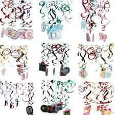 12pcs Foil Hanging Swirls 1st 16th 30th 50th Birthday Anniversary Baby Shower