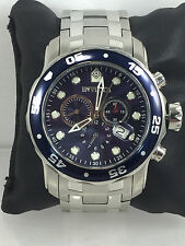 Men's Invicta 0070 Pro Diver Stainless Steel Blue Chronograph Dial Watch