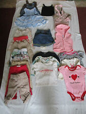 NICE BIG LOT BABY GIRL CLOTHES 6 - 12 MONTHS 22 PIECES OLD NAVY BABY GAP HATLEY