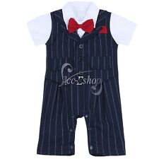 Baby Boy Short Sleeve Bodysuit Gentleman Bow-Tie Romper Jumpsuit Clothes Costume