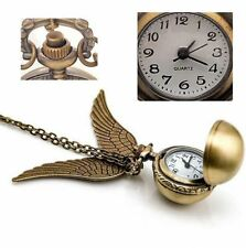 Antique Golden Snitch Quartz Pocket Watch Wings Necklace Chain (Box) XRAU