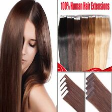 """Tape in Remy Human Hair Extensions Brown Blonde Brown 16-22"""" 20/40/60PC AU Stock"""