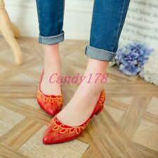 Elegant Womens Lady Block Low Heels Wedding Loafers Pointy Toe Date Prom Shoes