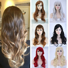 "19-28"" Women Soft Full Wig Long Wave Straight Hair Heat Resistant Wigs Ombre LC"