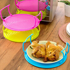 4in1 Microwave Plastic Food Dish Plate Bowl Stand Stacker Tray Heat Lifter Tool