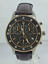 Women's Bulova 98R160 Brown Leather Strap Diamond Accented Brown Dial Watch