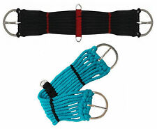 "WESTERN PONY MINI HORSE SADDLE ROPE GIRTH CINCH BLACK TURQUOISE 18"" 20"" 22"" 24"""
