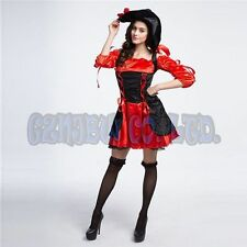 Adult Womens Red Queen of Pirates Cosplay Costumes Halloween Fancy Dress Outfit