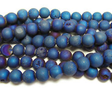 Dark Blue Electroplated Druzy Agate Round Gemstone Beads~Guaranteed