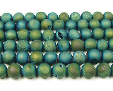 Sea Green Electroplated Druzy Agate Round Gemstone Beads~Guaranteed