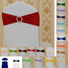 Spandex Stretch Chair Band Sashes Wedding Party Cover Cloth Buckle Bow Slider