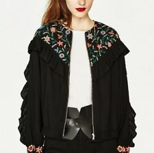 New Womens Ladies Floral Embroidered Long Sleeve Black Zip Up Coat Jacket