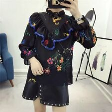 New Womens Ladies Fashion Floral Print Tassels Long Sleeve Blouse Tops Shirt