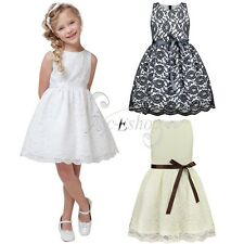 Flower Girl Kids Princess Vintage Bow Belt Lace Wedding Party Pageant Gown Dress