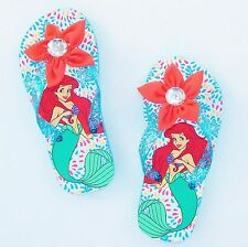 LITTLE MERMAID ARIEL Flip Flops Beach Sandals w/Optional Sunglasses NWT Sz 11/12