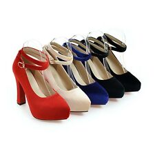 UK All Size Synthetic Mary Jane Pumps New Strap High Heel Party Lady's Shoes