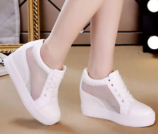 Womens Breathable Mesh Lace Up Hidden Wedge Casual Sport Shoes Sneakers Size