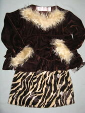 NWT $58 Greggy Girl CHOCOLATE CHERRY 2 2T 3 3T 4 4T Tiger Skirt Set Fur Brown