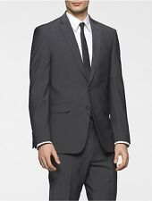 calvin klein mens body slim fit grey chambray suit jacket