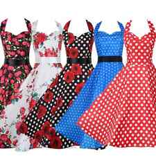 UK Womens Vintage 1950'S Retro Rockabilly Evening Party Skater Swing Tea Dress