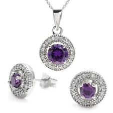 925 Sterling Silver 1.99 Carat Purple CZ Halo Pendant and Earring Set