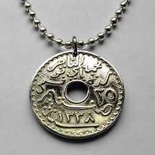 Tunisia 25 centimes coin pendant Tunisian Arabic script necklace Tunis n001532