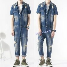 New Fashion Men's Denim Overalls Jumpsuits Rompers Casual Pants Slim Jeans Suits