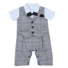 Infant Baby Boys Gentleman Wedding Formal Suit Tuxedo Romper Outfit Clothes Set