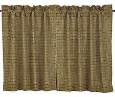 Tea Cabin Plaid Tiers in Earthy Olive Green and Creme Plaid, Choice of Two Sizes
