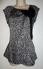 Black and white design ANN TAYLOR fancy neckline cap sleeve polyester blouse XS