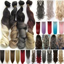 """24/26"""" Mega Thick Hair Extension Clip In Hair Extensions Full Head 8 Pieces Pcs"""