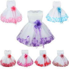 Infant Baby Toddler Girls Flower Petals Tulle Wedding Bridesmaid Formal Pageant