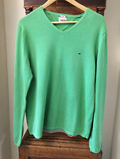 GORGEOUS TOMMY HILFIGER DENIM PEA GREEN V NECK JUMPER L LARGE COST £90