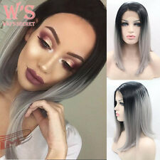 Short Human Hair Pixie Full Wigs For Womens Two Tone BOB Hair Lace Front Wig #US