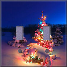 Snow Covered Lighted Christmas Tree Light Switch Plate Cover Wall Decor