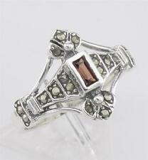 Antique Style Genuine Red Garnet and Marcasite Ring - Sterling Silver Size 8