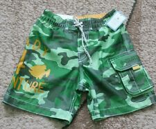Baby Gap toddler boys pull on swim trunks green camouflage 2T NWT
