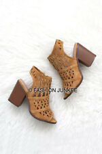 CAMEL BROWN TAN TRIANGLE OPEN TOE Booties Shoes Block Heels Ankle Peep NEW 5-11