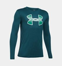 UNDER ARMOUR Boy's UA Novelty Big LOGO L/S T-Shirt ** NOVA TEAL - S, M ** NWT