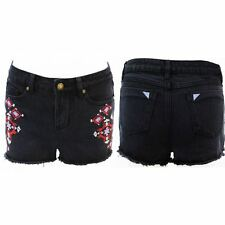 Womens Black Embroidered Denim Shorts Pants Ladies Jeans Hotpants