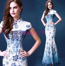 Lady Chinese Cheongsam Prom Evening Party Wedding Gown Embroidery Mermaid Dress