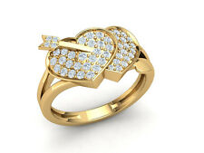 Genuine 1ctw Round Cut Diamond Cupid Arrow Heart Anniversary Band Ring 14K Gold
