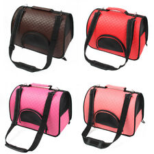 Travel Soft Faux Leather Meshy Double Sided Zipper Pet Puppy Carrier Tote Bag