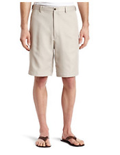 Haggar Mens Performance Flat Front Dress Shorts Solid Clay Beige