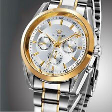 Silver OUYAWEI Mechanical Luxury Mens Day Date Steel Band Wrist Automatic Watch