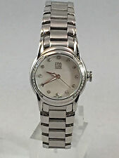 Ladies ESQ Movado Stainless Steel Diamond Accented MOP Textured Dial Watch