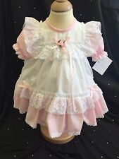 BABY GIRLS PINK AND WHITE COTTON DRESS & MATCHING FRILLY PANTS SIZES 0-12m NEW